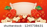 pig with chinese happy new year ... | Shutterstock . vector #1245738631