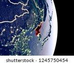 satellite view of north korea... | Shutterstock . vector #1245750454