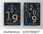 2019. new year greeting card... | Shutterstock .eps vector #1245760657