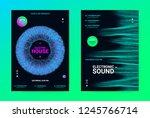 techno music poster. wave flyer ... | Shutterstock .eps vector #1245766714
