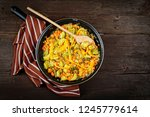 vegetables pan. stewed... | Shutterstock . vector #1245779614