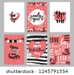 set of valentine's day greeting ... | Shutterstock .eps vector #1245791554