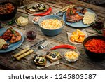 american cuisine. dinner table. ... | Shutterstock . vector #1245803587