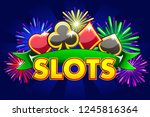 casino slots  banner on blue...