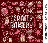 craft bakery lettering card.... | Shutterstock .eps vector #1245817147