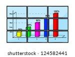 blue flat panels with pie chart ... | Shutterstock . vector #124582441