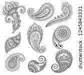 set of mehndi flower pattern... | Shutterstock .eps vector #1245843331