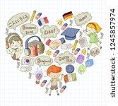 language school for adult  kids.... | Shutterstock .eps vector #1245857974