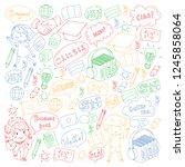 language school for adult  kids.... | Shutterstock .eps vector #1245858064
