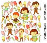 small children eating ice cream.... | Shutterstock .eps vector #1245859381