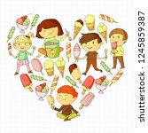 small children eating ice cream.... | Shutterstock .eps vector #1245859387