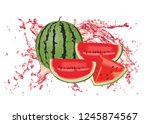 whole watermelon fruit with a... | Shutterstock . vector #1245874567
