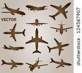 vector vintage old set of brown ... | Shutterstock .eps vector #124587907