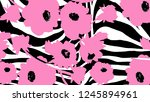 drawing flowers with zebra... | Shutterstock . vector #1245894961