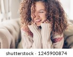 close up face portrait of... | Shutterstock . vector #1245900874