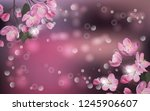 Stock vector vector banner with cherry blossom blossoming sakura branch template for invitation sales 1245906607