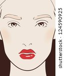 beautiful woman face close-up with make-up vector illustration vector eps 10 - stock vector