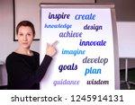 young brunette woman standing... | Shutterstock . vector #1245914131