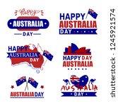 australia day badges set.... | Shutterstock .eps vector #1245921574
