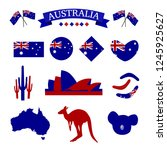 australia icon set in red and... | Shutterstock .eps vector #1245925627