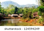 little Shan state village in the hills of Myanmar - stock photo