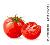 fresh tomatoes whole and piece... | Shutterstock .eps vector #1245996457