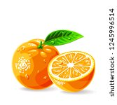 oranges whole a piece with leaf ... | Shutterstock .eps vector #1245996514