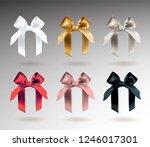 set of six white  golden ... | Shutterstock .eps vector #1246017301