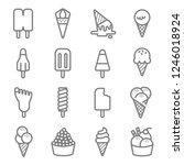 ice cream vector line icon set. ... | Shutterstock .eps vector #1246018924