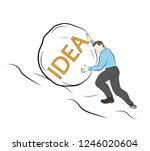 businessman pushes a stone up.... | Shutterstock .eps vector #1246020604