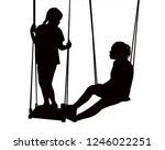 sisters on swing  making chat ... | Shutterstock .eps vector #1246022251