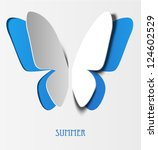 Stock vector decorative butterfly with paper wings 124602529