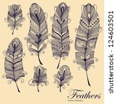 decorative feather vector set.... | Shutterstock .eps vector #124603501