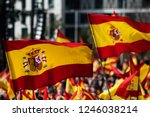 Spanish Flags Waving During A...