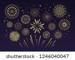 gold festive fireworks.... | Shutterstock .eps vector #1246040047