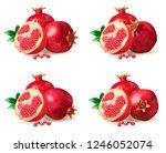 pomegranate isolated on white... | Shutterstock . vector #1246052074