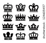 vector black crown icons set on ...