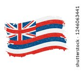 flag of hawaii. grunge abstract ...   Shutterstock .eps vector #1246063441