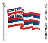 waving hawaii flag isolated on...   Shutterstock .eps vector #1246063447
