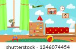 kindergarten room. empty... | Shutterstock .eps vector #1246074454
