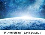 blue sunrise  planet earth from ... | Shutterstock . vector #1246106827