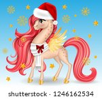 xmas pony with white scarf. big ... | Shutterstock .eps vector #1246162534
