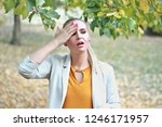 sick and tired woman with... | Shutterstock . vector #1246171957