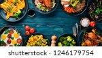 assortment of food. salad ... | Shutterstock . vector #1246179754