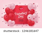 Stock vector vector valentines day sale poster special offer banner with hearts in black frame hand written 1246181647