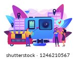 tourists eat and like local... | Shutterstock .eps vector #1246210567