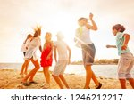 happy teenagers having fun... | Shutterstock . vector #1246212217