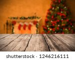 table background with fireplace ... | Shutterstock . vector #1246216111