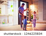 happy family  father with sons... | Shutterstock . vector #1246225834