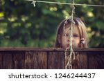 girl funny playing hide and... | Shutterstock . vector #1246244437